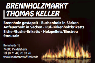 Brennholzmarkt Thomas Keller, Pleidelsheim Anfeuerholz, Holzpellets